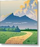 Road Leading To Mountains Metal Print