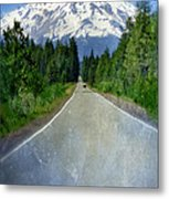 Road Leading To Snow Covered Mount Shasta Metal Print