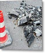Roadworks - Asphalt And Pylon Metal Print