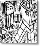Robot Sketch 6 Of 6 Metal Print
