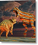 Robotic T. Rex & Triceratops Battle Metal Print