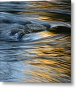 Rock And Blue Gold Water Metal Print