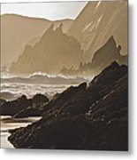 Rock And Waves Dingle Peninsular Metal Print by Julian Easten