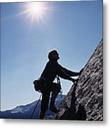 Rock Climber On Polly Dome Above Lake Metal Print