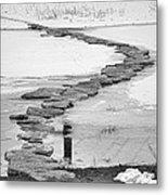 Rock Lake Crossing In Black And White  Metal Print