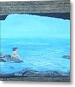 Rock Painting-nude Woman At Ocean Metal Print
