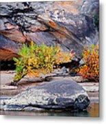 Rock Shrub And Bluff At Cumberland Falls State Park Metal Print