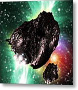 Rocket-controlled Asteroids Metal Print by Victor Habbick Visions