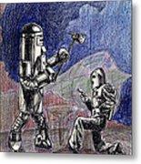 Rocket Man And Robot Metal Print
