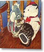 Rocking With Friends - Kitten And Stuffed Animals Painting Metal Print