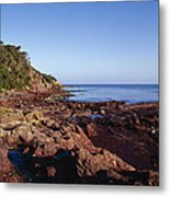 Rockpools In Volcanic Rock Formations Metal Print