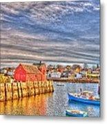 Rockport Water Color - Greeting Card Metal Print