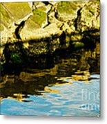 Rocks And Reflections On Ocean Metal Print