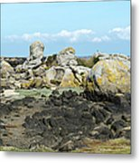 Rocks At Low Tide Iles Chausey Metal Print