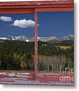 Rocky Mountain Autumn Red Rustic Picture Window Frame Photos Art Metal Print