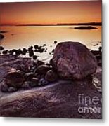 Rocky Shore At Twilight Metal Print