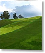 Rolling Green Fields At End Of Day  Metal Print