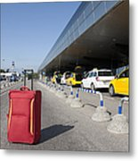 Rolling Luggage Outside An Airport Terminal Metal Print