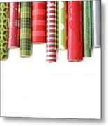 Rolls Of Colored Wrapping  Paper On White3 Metal Print