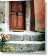 Roman Door And Steps Rome Italy Metal Print