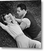 Romantic Couple Lying On Grass, (b&w), Elevated View Metal Print