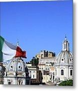 Rome Skyline With Italian Flag Metal Print
