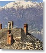 Roof With Chimney And Snow-capped Mountain Metal Print