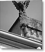 Rooftop Chained Gargoyle Statue Above French Quarter New Orleans Black And White Metal Print