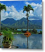 Rooftop Fountain In Paradise Metal Print