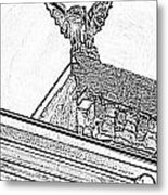 Rooftop Gargoyle Statue Above French Quarter New Orleans Black And White Photocopy Digital Art Metal Print