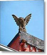 Rooftop Gargoyle Statue Above French Quarter New Orleans Film Grain Digital Art Metal Print