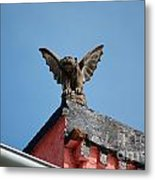 Rooftop Gargoyle Statue Above French Quarter New Orleans Metal Print