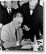 Roosevelt Signing Declaration Of War Metal Print