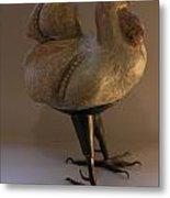 Rooster 2 Bronze Legs And Ceramics Body Sculpture Metal Print