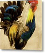 Rooster On The Prowl 2 - Vintage Tonal Metal Print