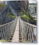 Rope Bridge At Carrick-a-rede In Northern Island Metal Print