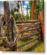 Rope On Fence Metal Print
