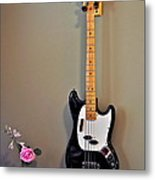 Rose And Bass Guitar Metal Print