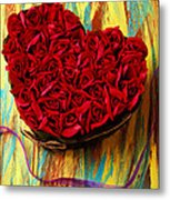 Rose Heart And Ribbon Metal Print by Garry Gay