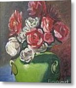 Roses And Green Vase Metal Print by Lilibeth Andre