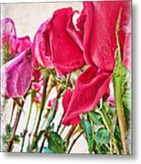 Roses In White Metal Print