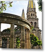 Rotunda Of Illustrious Jalisciences And Guadalajara Cathedral Metal Print