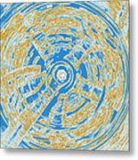 Round And Round Blue And Gold Metal Print