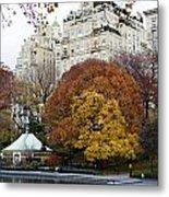 Round Autumn Trees Metal Print