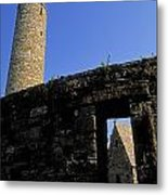 Round Tower And Chapel, Ulster History Metal Print by The Irish Image Collection