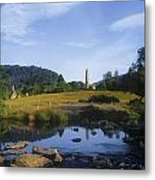 Round Tower In The Forest Glendalough Metal Print