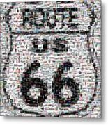 Route 66 Coke Ford Mustang Mosaic Metal Print