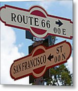 Route 66 Street Sign Metal Print