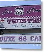 Route 66 Twisters Sign Metal Print