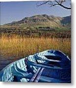 Row Boat Amongst Reeds On A Lake Metal Print